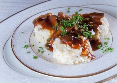 "Millet Mashed ""Potatoes"" with Mushroom Gravy"